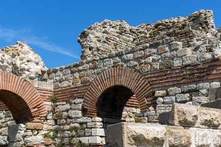 Ancient ruins of Fortifications at the entrance of old town of Nessebar, Burgas Region, Bulgaria