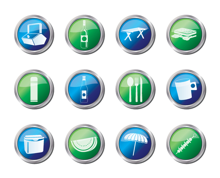 Picnic and holiday icons over colored background - vector icon set Vectores