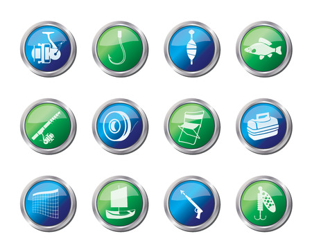 Fishing and holiday icons over colored background - vector icon set Vettoriali