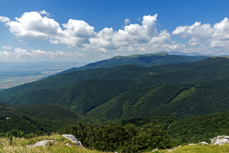 Amazing Summer Landscape to Stara Planina ( Balkan ) Mountains from Shipka peak , Stara Zagora Region, Bulgaria