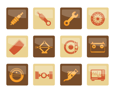 Realistic Car Parts and Services icons over brown background - Vector Icon Set 1