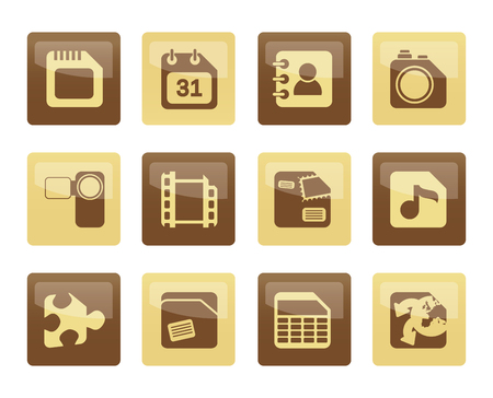 Mobile Phone, Computer and Internet Icons over brown background - Vector Icon Set
