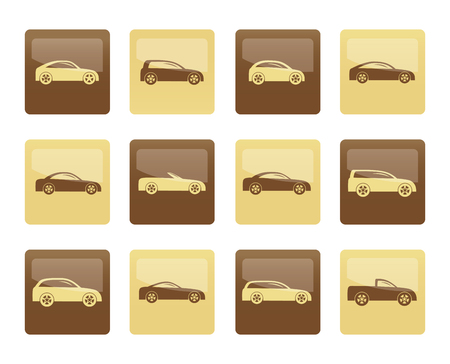 different types of cars icons over brown background - Vector icon set