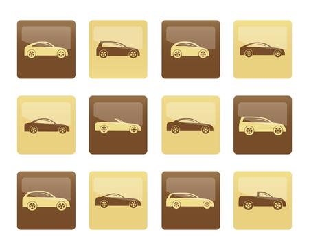 verschiedene Arten von Autosymbolen über braunem Hintergrund - Vektorsymbolsatz