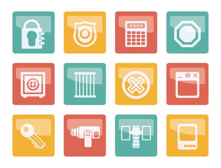 Security and Business icons over colored background - vector icon set Illusztráció