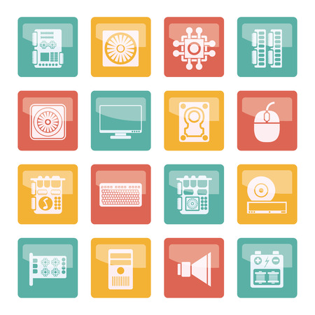 Computer performance and equipment icons over colored background - vector icon set
