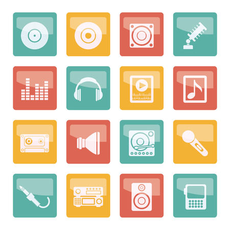 Music and sound icons over colored background -Vector Icon Set