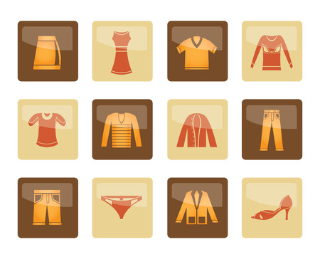 Clothing Icons over brown background - Vector Icon Set Illustration