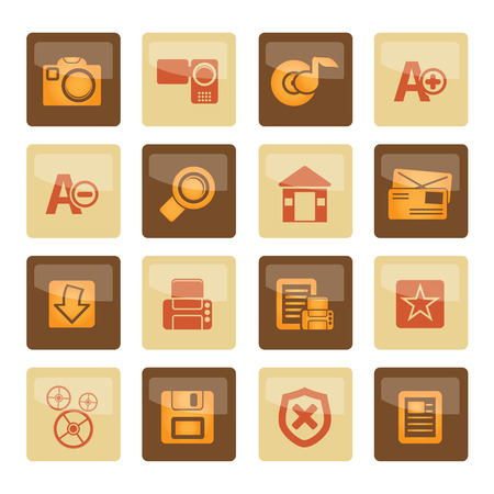 Internet and Website icons over brown background - Vector Icon Set