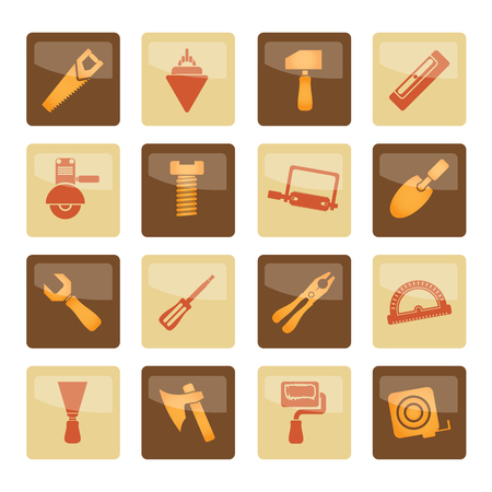 Building and Construction Tools icons over brown background - Vector Icon Set