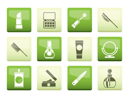 beauty, cosmetic and make-up icons over green background - vector icon set