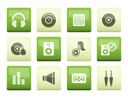 Music and sound icons over green background -  Vector Icon Set Imagens - 109952968