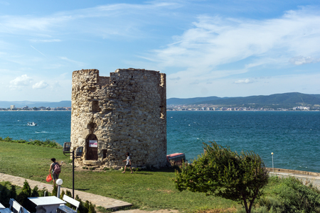 NESSEBAR, BULGARIA - AUGUST 12, 2018: Ruins of Ancient Battle Tower in old town of Nessebar, Burgas Region, Bulgaria