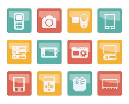 Technical, media and electronics icons over colored background - vector icon set