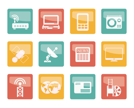 Business, technology  communications icons over colored background - vector icon set 向量圖像