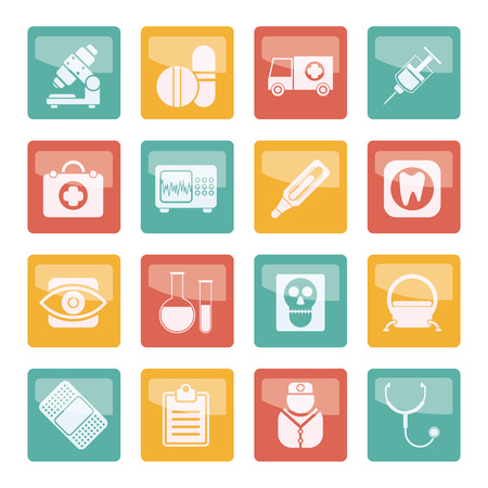 Medical, hospital and health care icons over colored background - vector icon set Vector Illustratie