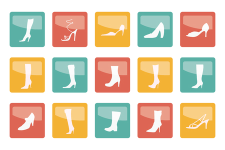 Shoe and boot icons over colored background- vector icon set