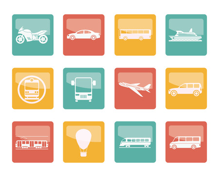 Travel and transportation of people icons over colored background - vector icon set