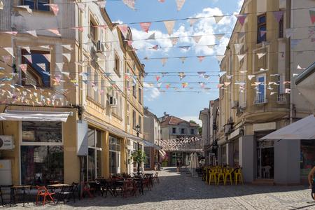 KAPANA, PLOVDIV, BULGARIA - JULY 5, 2018:  Street and houses in district Kapana, city of Plovdiv, Bulgaria