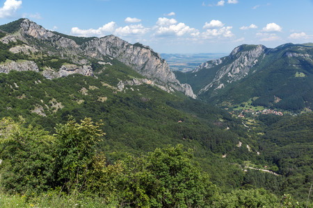 Amazing Landscape of Balkan Mountains with Vratsata pass,  town of Vratsa and Village of Zgorigrad, Bulgaria