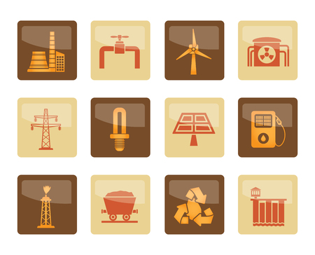 Power and electricity industry icons over brown background - vector icon set Ilustração