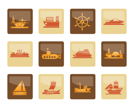 different types of boat and ship icons over brown background - Vector icon set