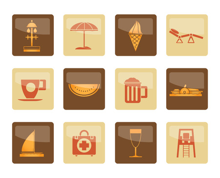 beach and holiday icons over brown background - vector icon set