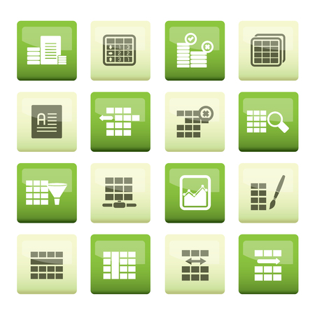 Database and Table Formatting Icons over color background - Vector Icon Set