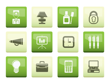 Business and office icons over color background - vector icon set