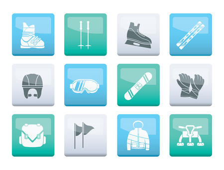 ski and snowboard equipment icons over color background - vector icon set