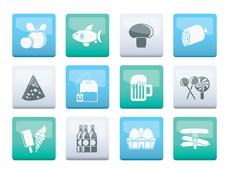 food, drink and shop icons over color background - vector icon set
