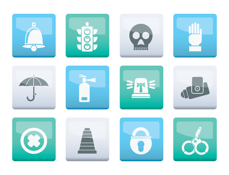 Surveillance and Security Icons over color background - vector icon set Illustration