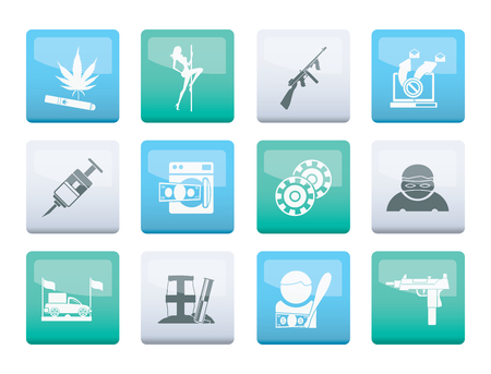 mafia and organized criminality activity icons over color background - vector icon set