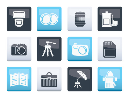 Photography equipment icons over color background - vector icon set 矢量图像