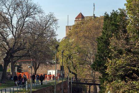 BELGRADE, SERBIA - NOVEMBER 10, 2018: Belgrade Fortress and Kalemegdan Park in the center of city of Belgrade, Serbia Redakční