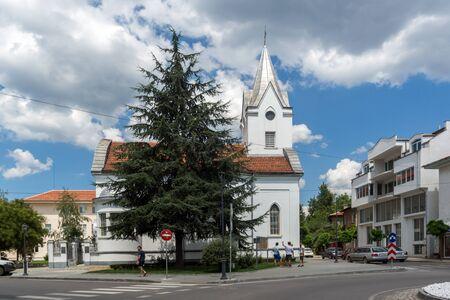 KAZANLAK, BULGARIA - AUGUST 5, 2018: Center of town of Kazanlak, Stara Zagora region, Bulgaria
