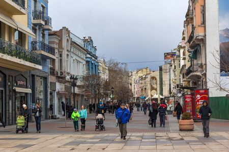 PLOVDIV, BULGARIA - DECEMBER 30, 2016: Walking people at the central pedestrian street in city of Plovdiv, Bulgaria Editorial
