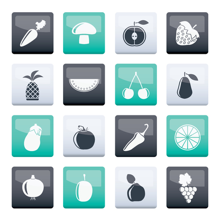 Different kinds of fruits and Vegetable icons over color background - vector icon set
