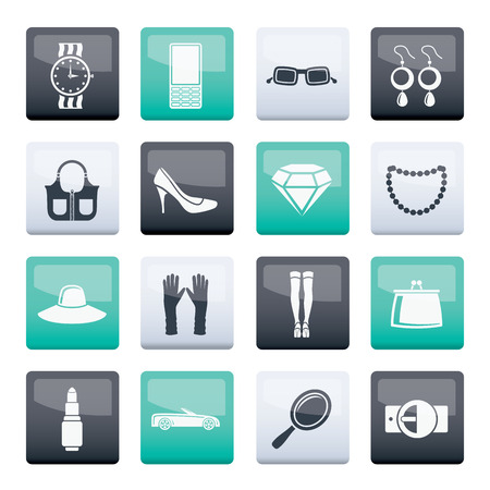 woman and female Accessories icons over color background - vector illustration