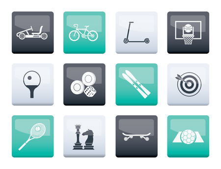 sports equipment and objects icons over color background - vector icon set 2