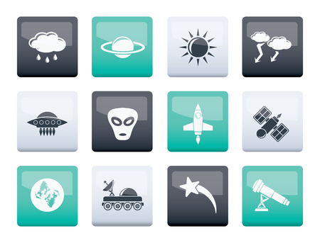 Astronautics and Space and universe Icons over color background - Vector Icon Set