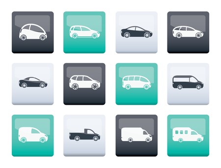 different types of cars icons over color background - Vector icon set