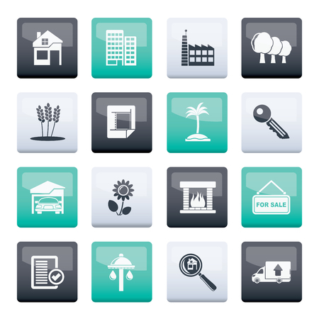 Real Estate and building icons over color background - Vector Icon Set Vectores