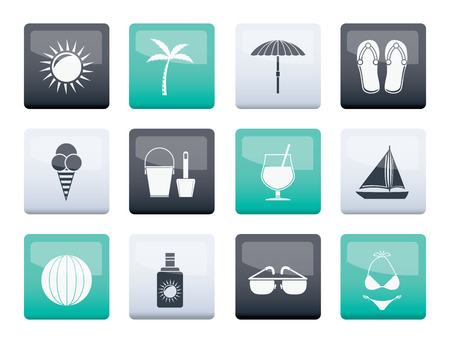 Summer, Holiday and beach objects over color background - Vector Illustration