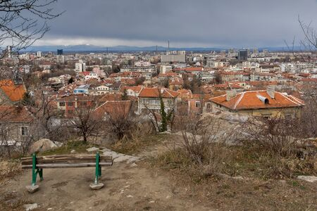 PLOVDIV, BULGARIA - DECEMBER 30, 2016:  Panoramic view of city of Plovdiv from Sahat tepe hill, Bulgaria Stock Photo - 128930618