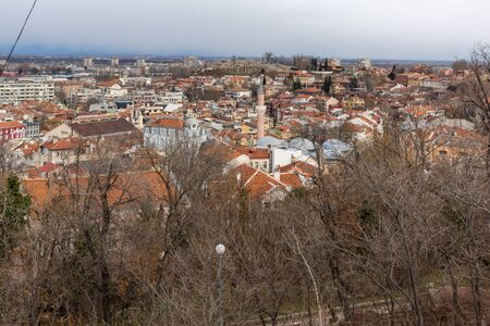 PLOVDIV, BULGARIA - DECEMBER 30, 2016:  Panoramic view of city of Plovdiv from Sahat tepe hill, Bulgaria