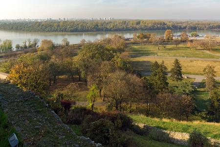 BELGRADE, SERBIA - NOVEMBER 10, 2018: Panoramic sunset view of Belgrade Fortress, Kalemegdan Park, Sava and Danube Rivers in city of Belgrade, Serbia Editorial