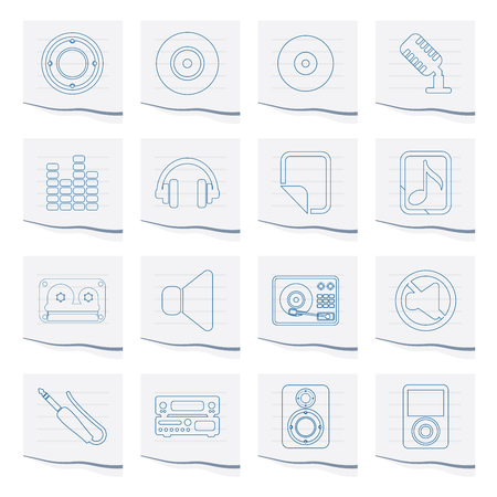 Music and sound Icons on a piece of paper - Vector Icon Set