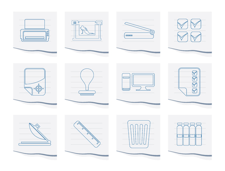 Print industry Icons on a piece of paper - Vector icon set Illustration