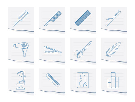 hairdressing, coiffure and make-up icons on a piece of paper - vector Icon Set